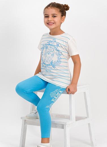 Frozen  Lisanslı Karmelanj Kız Çocuk Tayt Pijama Takım Beyaz